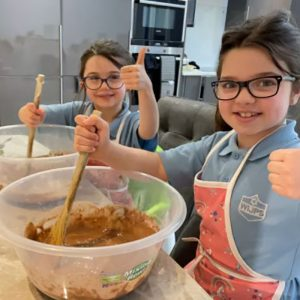 Summer and Cassidy Conway join in the baking fun