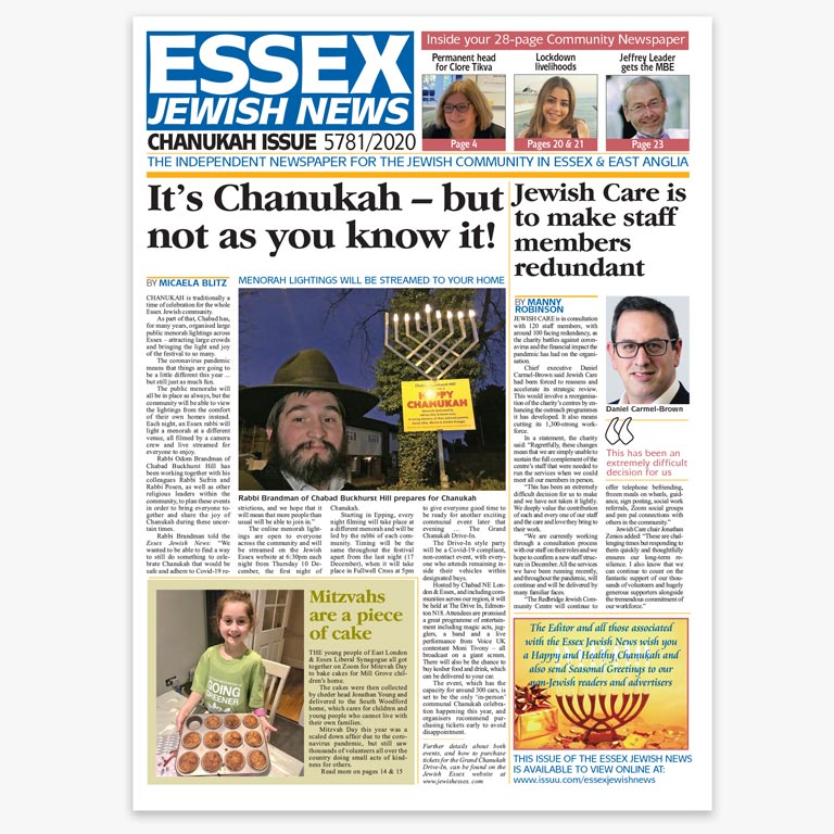 Essex Jewish News Chanukah 2020