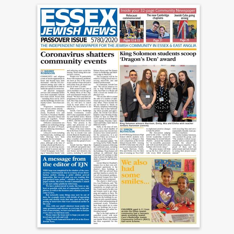 Essex Jewish News Passover 2020